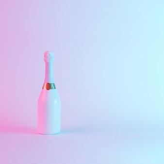 Witte champagnefles met kleurrijke ultraviolette holografische neonlichten. creatief concept.