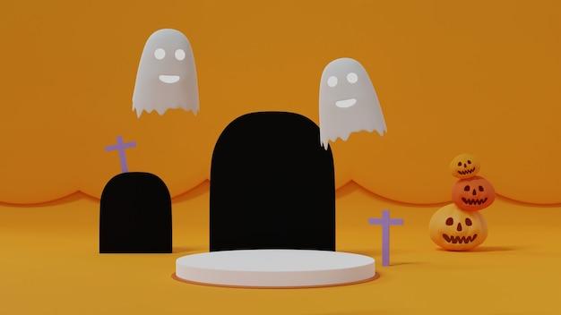 Witte cilinder podium versierd met stapel pompoenen, grafsteen en kruis, witte boo ghost op gele achtergrond, schattige halloween achtergrond, 3d-rendering