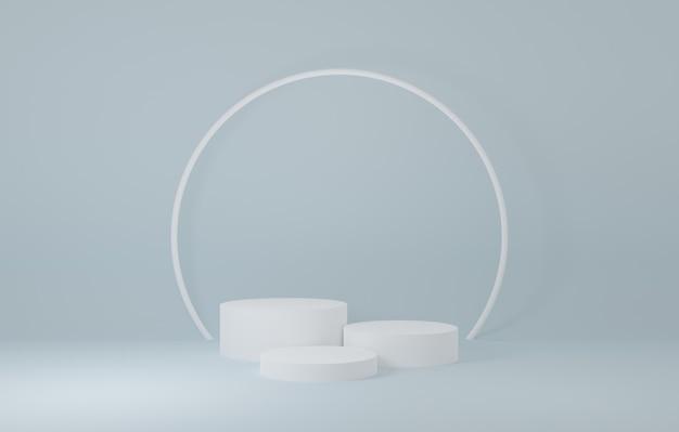 Witte cilinder productstandaard in blauwe kamer, studioscène voor product, minimaal ontwerp, 3d-weergave
