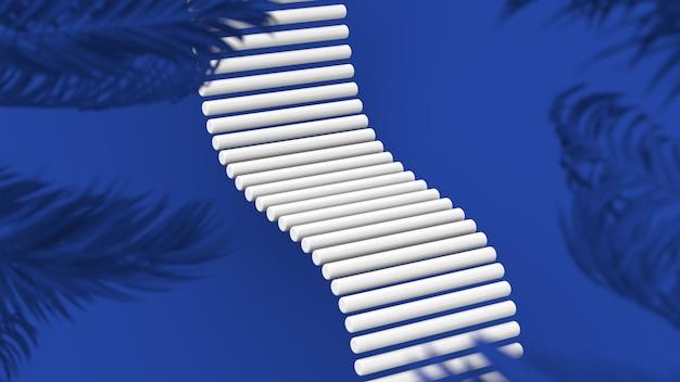 Witte cilinders blauwe palmbomen als achtergrond