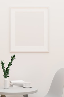Witte concept ontspannende hoek met mockup frame op de muur salontafel en stoel 3d-rendering