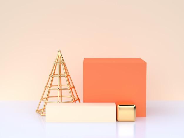 Witte crème scène 3d-rendering oranje