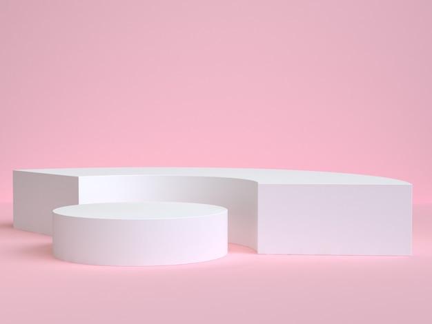 Witte curve en cirkel vorm minimale roze scène 3d-rendering