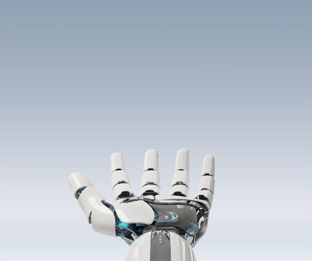 Witte cyborg die zijn hand opent
