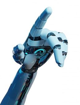Witte cyborg die zijn vinger het 3d teruggeven richt