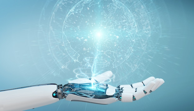 Witte cyborghand die aardeinterface 3d teruggeven gebruikt