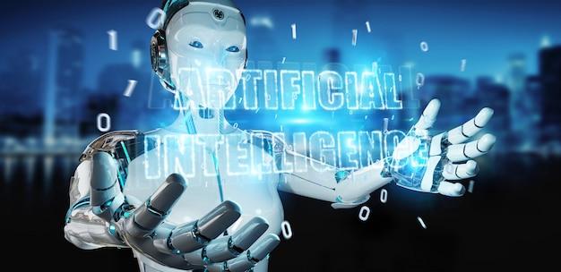 Witte cyborgvrouw die het digitale hologram van het kunstmatige intelligentietekst 3d teruggeven gebruiken