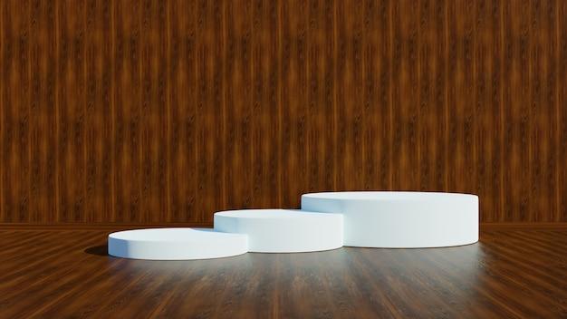 Witte display of podium voor showproduct en houten vloer en houten wand.