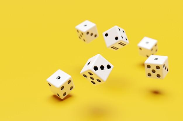 Witte dobbelstenen vliegen op gele achtergrond. twee dobbelstenen casino spel sjabloon concept. casinoachtergrond.