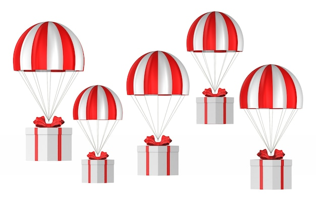 Witte doos met rode boog en parachute op wit. geïsoleerde 3d-afbeelding