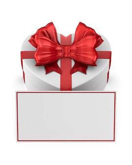 Witte doos met rode strik en label op wit. geïsoleerde 3d-afbeelding