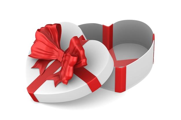 Witte doos met rode strik op witte achtergrond. geïsoleerde 3d-afbeelding