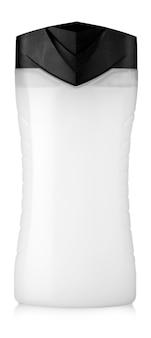 Witte douchegelfles die op witte achtergrond wordt geïsoleerd