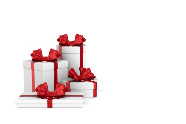 Witte dozen met rode strik op wit. geïsoleerde 3d-afbeelding