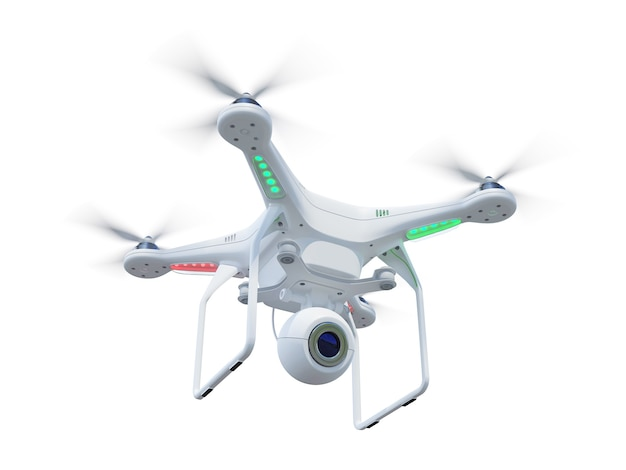 Witte drone, quadrocopter, met fotocamera die in de blauwe lucht vliegt. concept