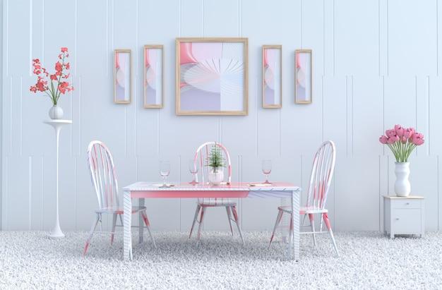 Witte eetzaal, fotolijst, gestreepte roze stoel & bureau. valentijnsdag. nieuw jaar. 3d ren