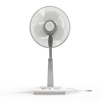 Witte elektrische ventilator. driedimensionaal model op een witte achtergrond