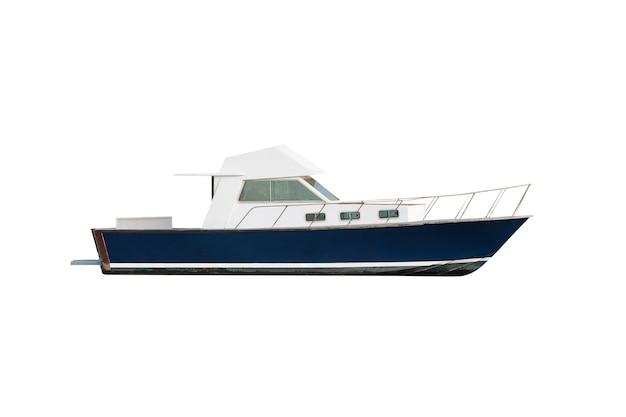 Witte en blauwe motorboot geïsoleerd op wit
