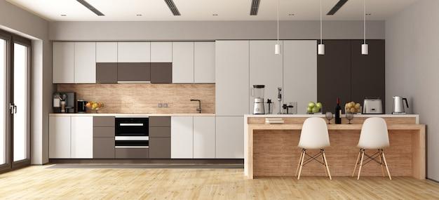 Witte en bruine moderne keuken