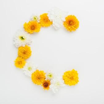 Witte en gele bloemenboog op witte achtergrond
