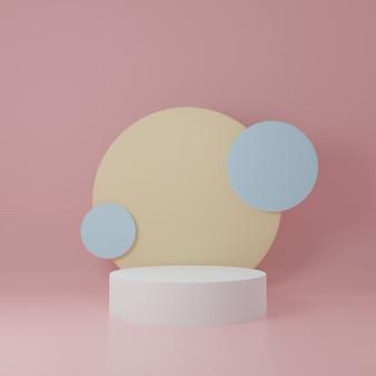 Witte en gele cilinder productstandaard in roze kamer, studioscène voor product, minimaal ontwerp, 3d-weergave