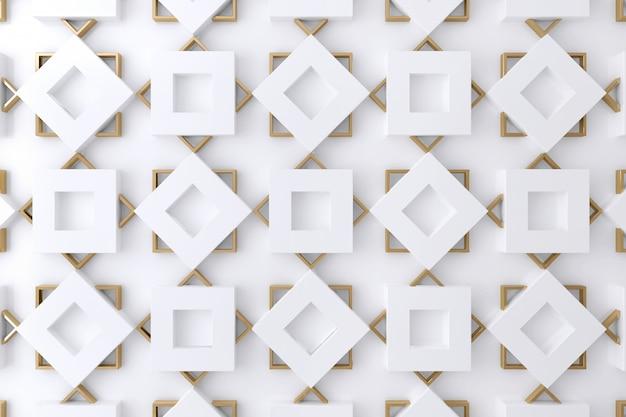 Witte en gouden vierkante vorm 3d muur voor achtergrond, behang of achtergrond