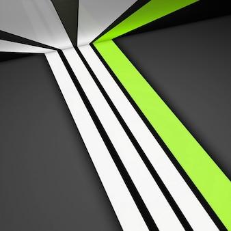 Witte en groene rechte strepen op een grijze achtergrond. 3d-patroonlijnen modern design, strepen geometrische vormen perspectief