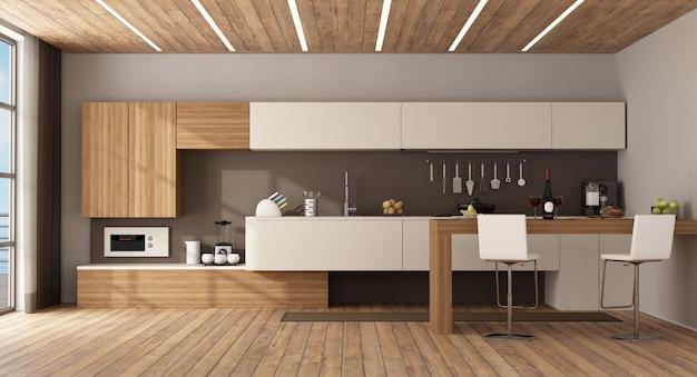 Witte en houten keuken met schiereiland en krukken