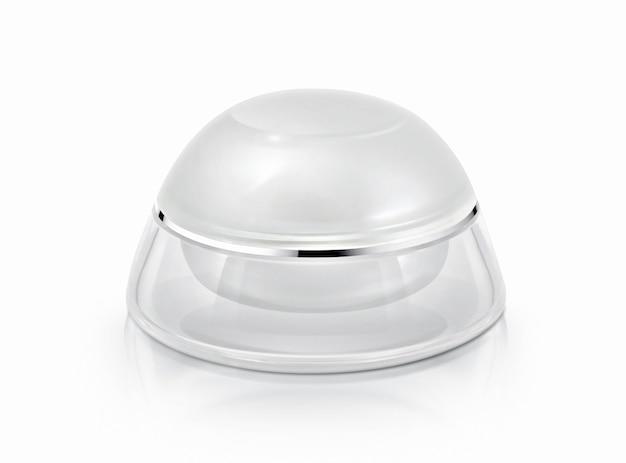 Witte en metalen cosmetische pot
