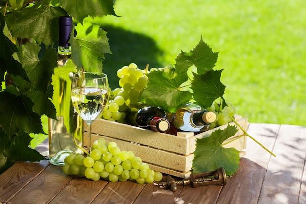 Witte en rode wijnfles, glas, wijnstok en tros druiven op tuintafel