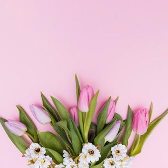 Witte en roze gekleurde bloemen