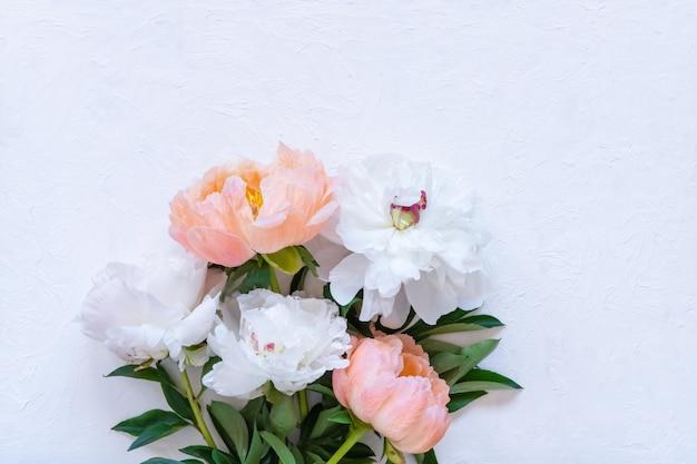 Witte en roze pioenrozen