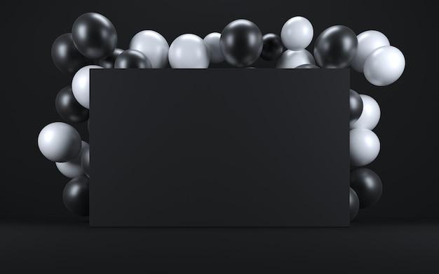 Witte en zwarte ballon in een zwart interieur rond een zwart bord. 3d render