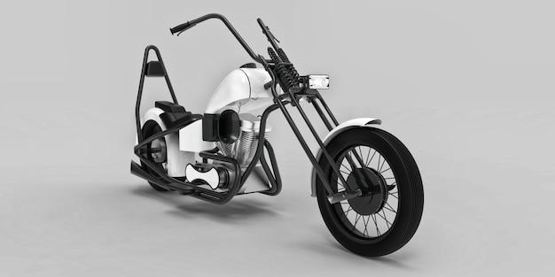 Witte en zwarte klassieke custom motor