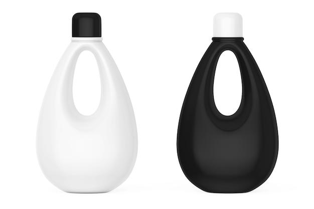 Witte en zwarte lege plastic flessen voor bleekmiddel, vloeibaar wasmiddel of wasverzachter op een witte achtergrond. 3d-rendering.