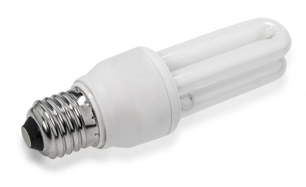Witte energiebesparende lamp, verlichte gloeilamp, cfl-lamp, realistisch fotobeeld op witte achtergrond
