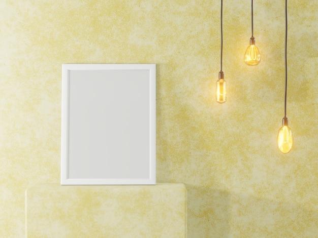 Witte fotolijst op de achtergrond van een betonnen muur en vintage lampen. interieur in loftstijl. 3d-weergave