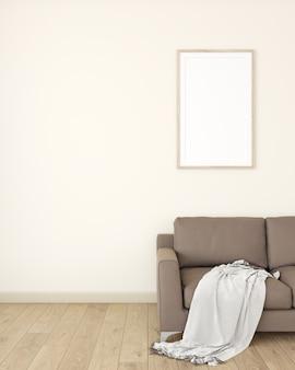 Witte fotolijst op de crème muur het interieur van de kamer is versierd met een bruine bank op een houten vloer.