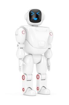 Witte futuristische cartoon toy robot op een witte achtergrond. 3d-rendering