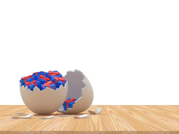 Witte gebroken paasei shell vol met geschenken