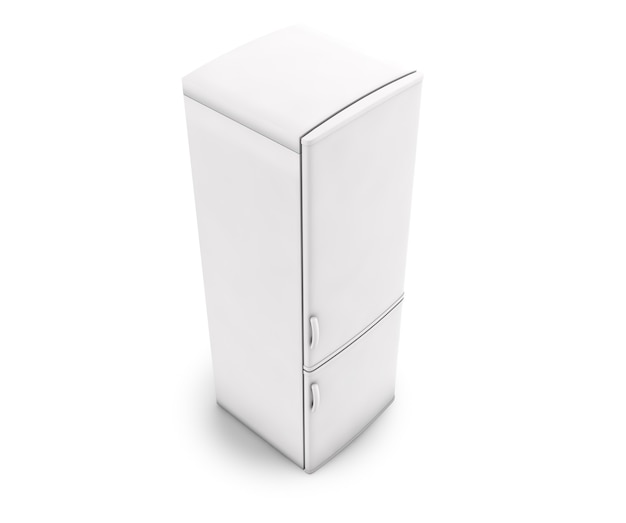 Witte geïsoleerde ijskast. 3d-rendering
