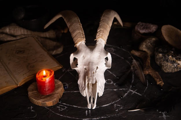Witte geit scull met hoorns, open oud boek met magische spreuken, runen, kaarsen en kruiden op heksen tafel.