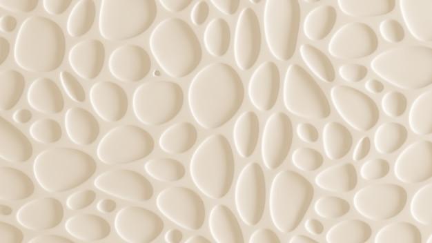 Witte, gele textuur achtergrond met reliëf en cirkels. 3d-weergave.