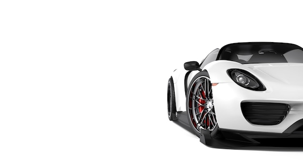 Witte generieke sportwagen die op wit wordt geïsoleerd