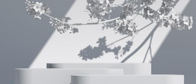 Witte geometrische podium en kersenbloesem met lichte natuur witte achtergrond 3d-rendering