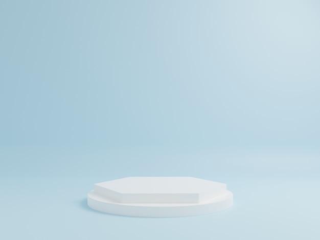 Witte geometrische podium met blauwe achtergrond.