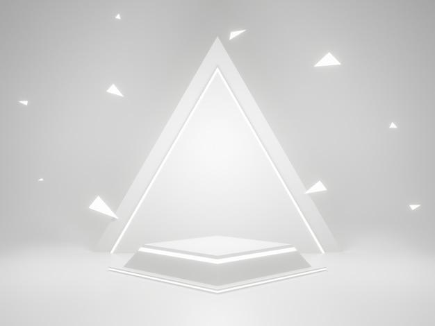 Witte geometrische productstandaard met neonlichten. 3d-weergave.