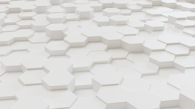 Witte geometrische zeshoekige abstracte achtergrond. 3d-rendering