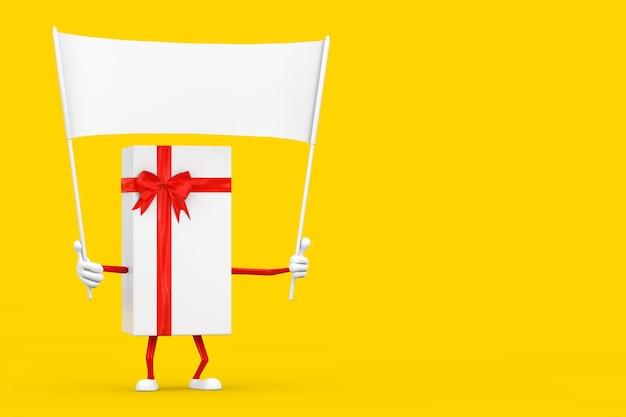 Witte geschenkdoos en rood lint karakter mascotte en lege witte lege banner met vrije ruimte voor uw ontwerp op een gele achtergrond. 3d-rendering