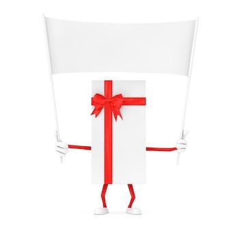 Witte geschenkdoos en rood lint karakter mascotte en lege witte lege banner met vrije ruimte voor uw ontwerp op een witte achtergrond. 3d-rendering